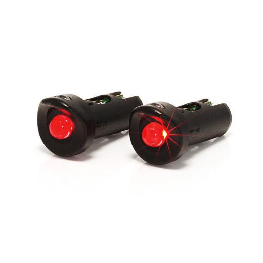 1 led rear light for ø20/22 tube, black (couple)
