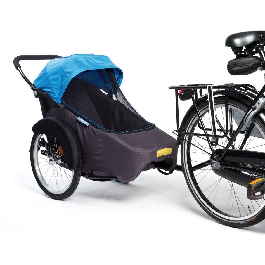 "Bika: rimorchio/stroller/sidecar per bici ""Hera 20"" blu trasporto 1 bimbo"