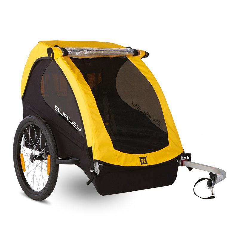 """Bika: rimorchio per bici """"Bee"""" giallo per trasporto 2 bimbi"""