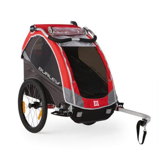 """Bika: rimorchio / stroller per bici """"Bee"""" rosso per trasporto 2 bimbi"""