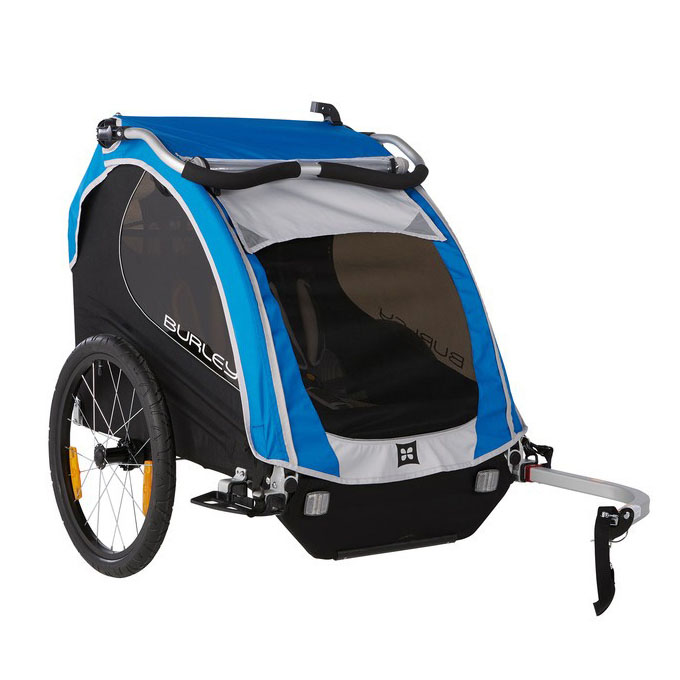 "Bika: rimorchio / stroller per bici ""Encore"" blu per trasporto 2 bimbi"