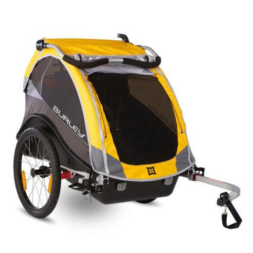 """Bika: rimorchio / stroller per bici """"Cub"""" giallo per trasporto 2 bimbi"""